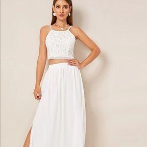 Guipure lace cami top & slit hem skirt (size 8/10)